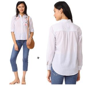 Rails Nevin Embroidered Floral Stripe Button Down